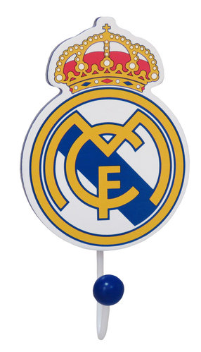 REAL MADRID PERCHERO MADERA C/FORMA ESCUDO