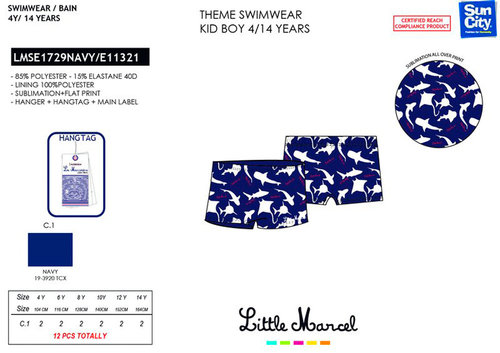 LITTLE MARCEL BOXER BAÑO NAVY