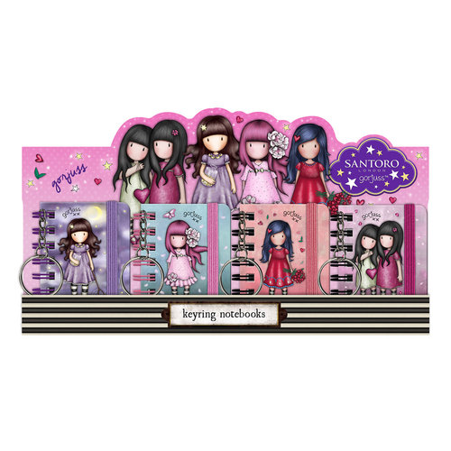 GORJUSS DISPLAY 16 LLAVEROS MINI LIBRETA SPARKLE & BLOOM